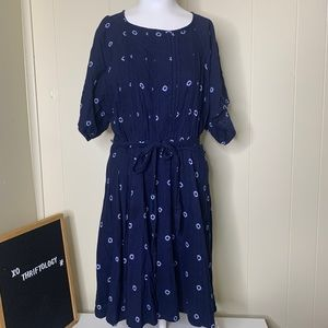 OLD NAVY Midi Belted Dress Navy Blue w/ White M